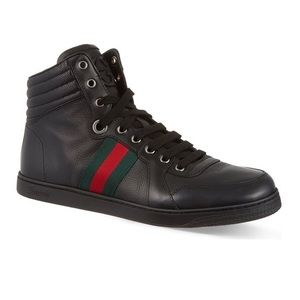 Gucci Black Leather High Top Sneakers
